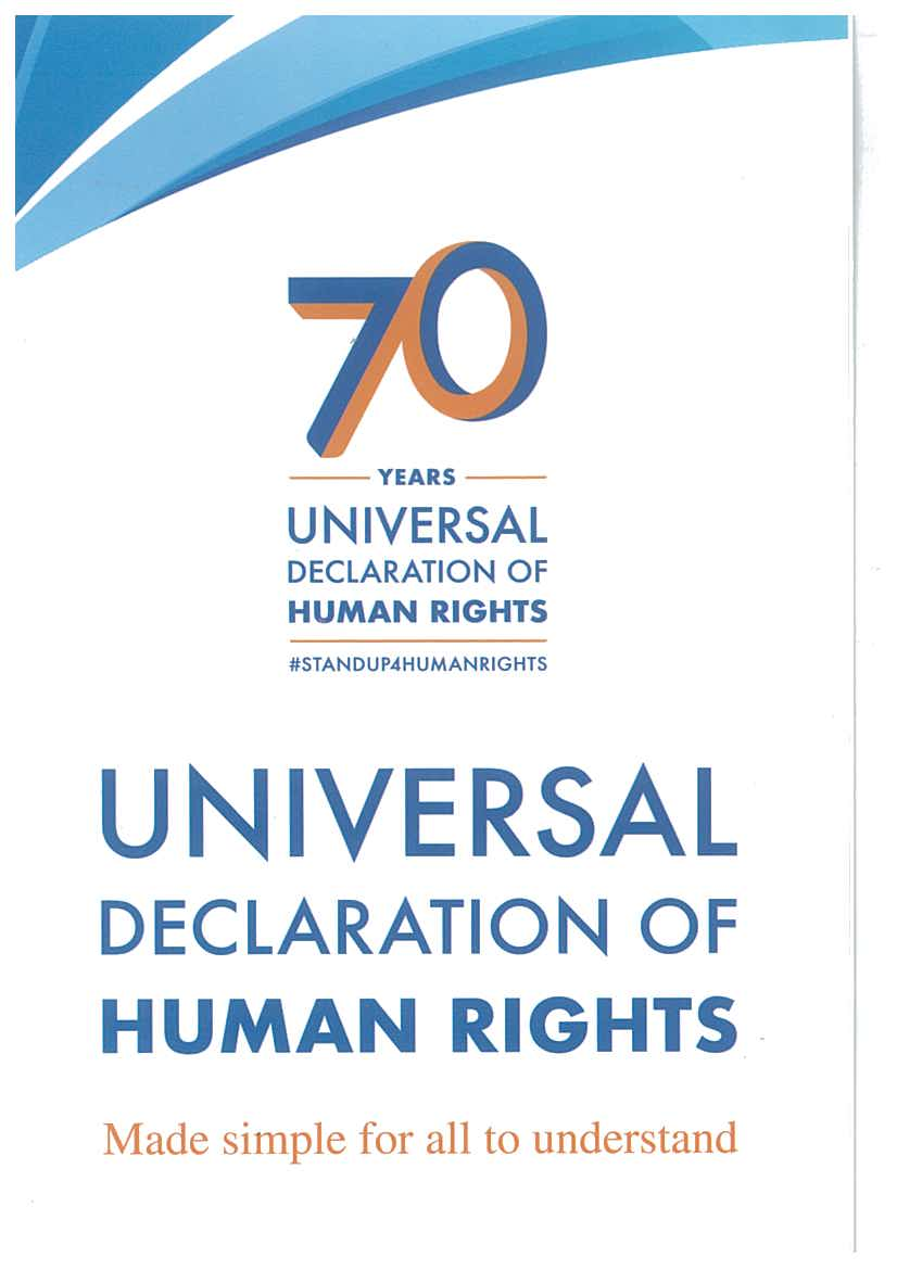 Leaflet of 70th Anniversary of Universal Declaration of Human Rights