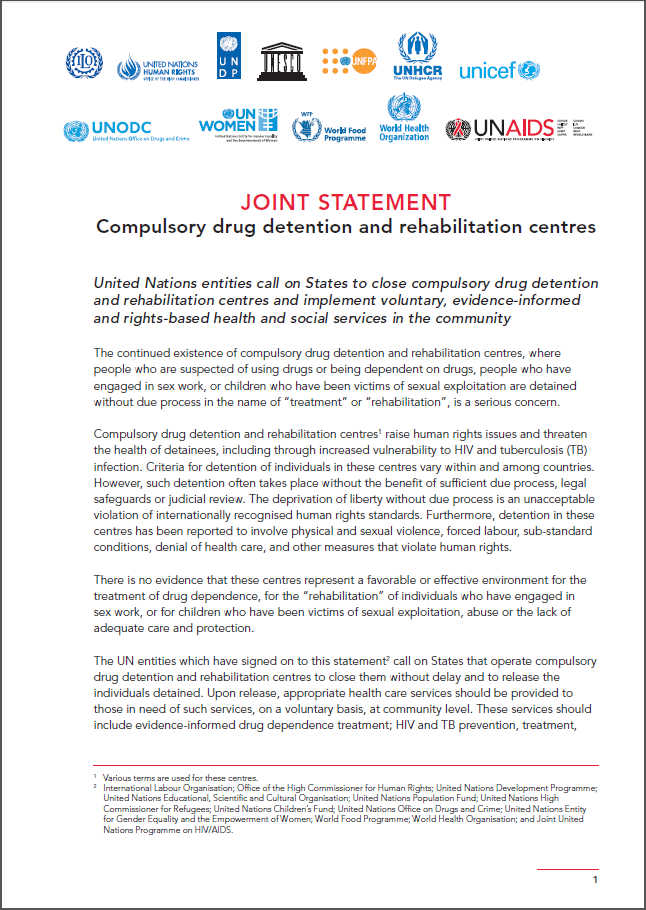 UN Joint Statement on Compulsory Drug Detention and Rehabilitation Centres