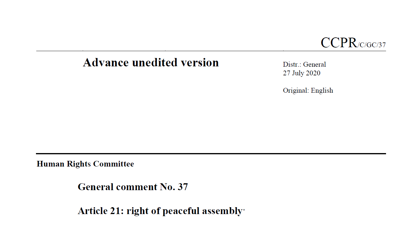 General comment No. 37 on the right of peaceful assembly