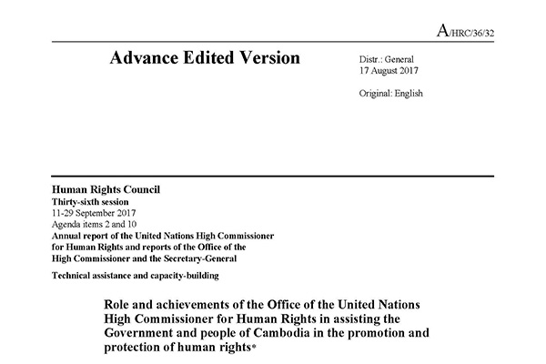 Annual report to the Human Rights Council on the role and achievements of OHCHR-Cambodia